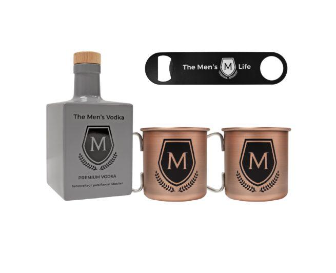 The Men´s Life Vodka Flasche inkl. Kupferbecher 2er Set mit Logo und Flaschenöffner